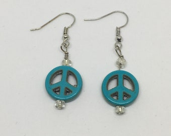 Silver and Blue peace sign earrings