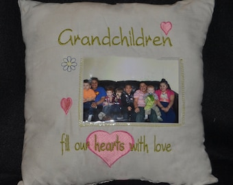 Embroidered Grandchildren pillow, Embroidered Pillow, Throw Pillow, Home Decor, Grandchildren, Grandparents