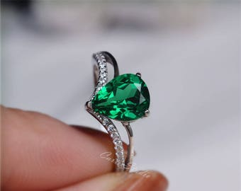 Pear Emerald Ring Emerald Engagement Ring/ Wedding Ring 925 Sterling Silver Ring Anniversary Ring