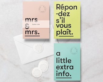 Custom colour Minimal Lesbian Gay Wedding Invitation / Invite Complete Suite, includes RSVP, Info Card, Envelope & Sticker.