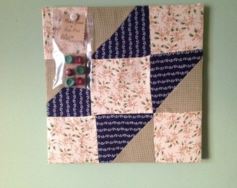 Quilted Bulletin Board with Set of 6 Vintage Button Pins