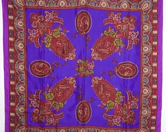 Scarf by Oscar de la Renta in purple silk paisley with hand painted gold accents, reds and mauves.  Vintage haute couture at its best!