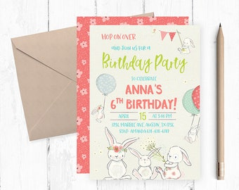 Bunny Invitation, Bunny invites, Garden Birthday Invitation, Spring Birthday Invitation, Spring Invitation, Bunny themed party, Bunnies,