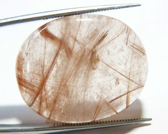 34mm Natural Golden Rutilated Quartz Stone Cabochon tourmalinated quartz gemstone cabochons palm worry stone flatback Rutile Healing crystal