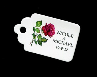 Personalized Wedding Favor Tags - Bridal Shower Tags - Gift Tags - Wedding Tags - Floral Tags - Rose - Personalized Tag - Small