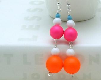 Neon Pink and Orange  Minimalist Beaded  Dangle  Drop  Earrings    Geometric Drop Earrings for her Under 50