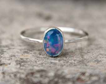 OVAL CRYSTAL OPAL - opal ring - opal stacking ring -gemstone stacking ring-october birthstone ring - october ring stacking ring -skinny ring