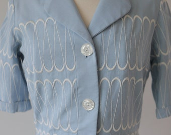 1950's Blue Linen Dress with Gorgeous Embroidery