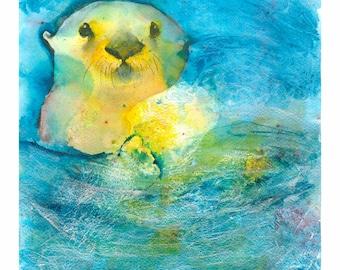 Otter Art: Otter painting ocean Nursery decor baby otter print sea otter watercolor colorful otter print otter lover gift mother's day gift