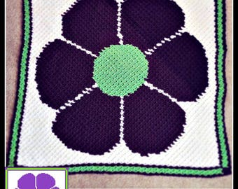 C2C Graph, Flower C2C, Flower Power, C2C Graph, and Written Word Chart, Corner to Corner, Flower C2C Graph, Flower Afghan