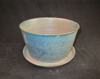 6.75 inch wide planter in blue and silver, stoneware pottery, flower pot