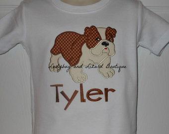 Boy's Standing Bulldog Short/Long Sleeve Top with Monogram Sizes 12M-18M, 2T-5T, 6