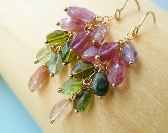 Watermelon Tourmaline gold earrings. October Birthstone earrings. Drop earrings. Gemstone cascade . Gift for her. Ready to ship. Christmas