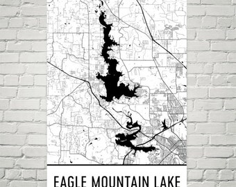 Eagle Mountain Lake Texas, Eagle Mountain Lake TX, Eagle Mountain Lake Map, Texas Map, Lake House Decor, Lake Map, Eagle Mountain Lake Print