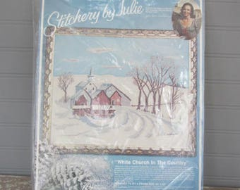 Vintage Paragon Stitchery Kit Crewel Embroidery Needlepoint Paragon White Church In The Country