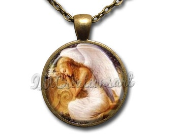 Resting Angel Glass Dome Pendant or with Chain Link Necklace SM201