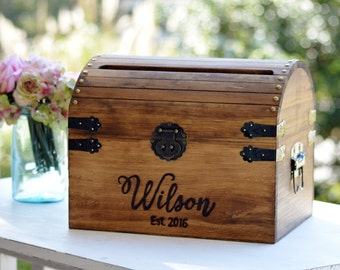 Wedding baskets boxes etsy sg personalized wedding card box wood wedding card box with slot 5th anniversary gift negle Gallery