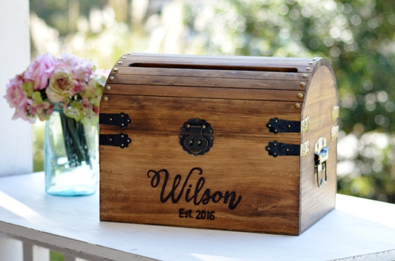 Card Gift Box Wedding: Personalized Wedding Card Box Wood Wedding Card Box With