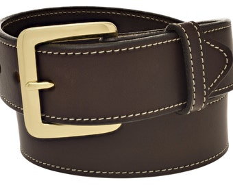"""Full Grain Leather 1-1/2"""" Stitched Dark Brown Belt. Handmade in the USA  (#4618)"""