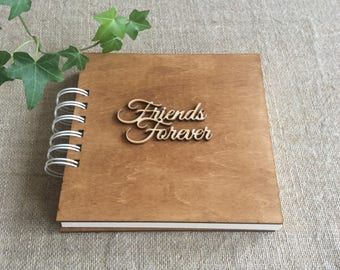 "bff photo album, wooden cover photo album, gift for best friend, 6 x 6"" album, scrapbook album, memory book, hardcover journal"