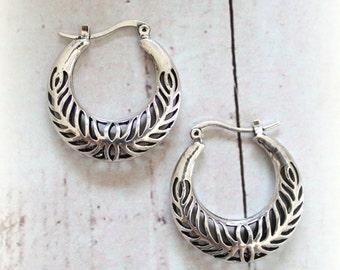 Hollow carved Tibetan silver Hoop earrings Gypsy Ethnic earrings Tribal Free people style Bohemian jewelry by Inali