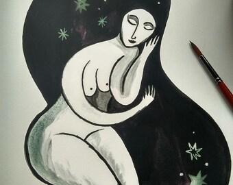 Wall Art, Art Print, Fine Art, Morning Star, Nude, Ink, Drawing