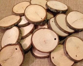 "50 Drilled wood slices - 1.5"" to 2."" rustic wood slices - Each slice with drilled hole"
