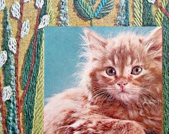 Vintage Book, Stitchery Illustrations, Tell Me Cat, Cat Book, Kitten Photos, Cat Photos, Ellen Fisher, Virginia Tiffany, Children 1960s Book