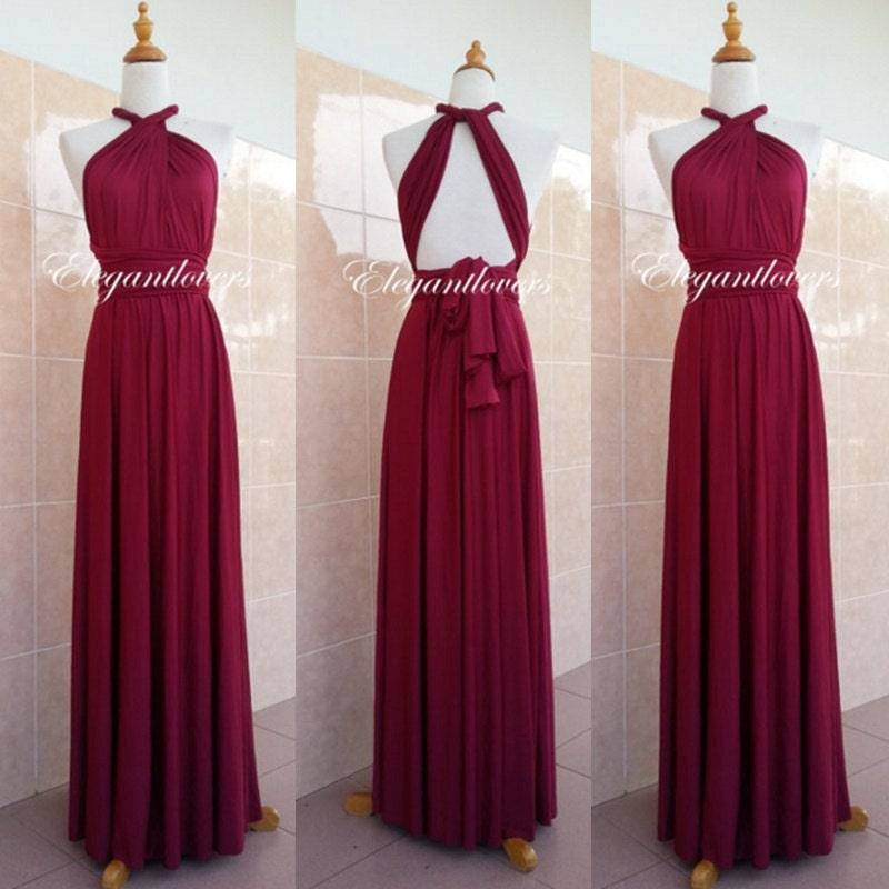 Red wine merlot burgundy dress maroon wedding dress bridesmaid for Red wine wedding dress