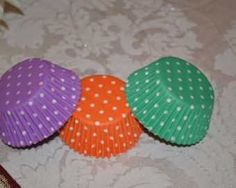 75 White Polka Dot Tri-Color Standard Cupcake Liners