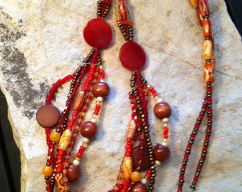 Long Tribal Beaded necklace