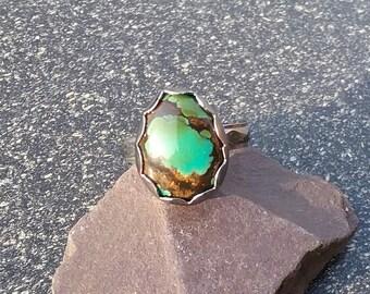 Turquoise Ring, Silver Ring, Artisan Ring, Boho Ring, Gemstone Ring, Hubei Turquoise Ring