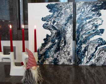 Aalto (Waves) Diptych (70x100cm)-Abstract painting,Acrylic,Modern Interior,Contemporary art,Minimalistic,Wall decor,Living room,Bedroom art