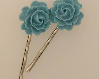 Blue Rose Hair Pins - Pair of Bobby Pins in Silver