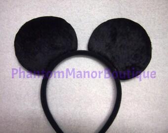Mickey Mouse Ears - Solid Black Headband Wedding Mickey Disney Princess Groomsmen