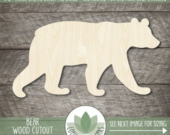 Wood Bear Cutout, Blank Wood Shapes, Wooden Bear Shape, Bear Party Decor, Bear Wedding Favors, Wood Sign Making Supplies, Cabin Decor