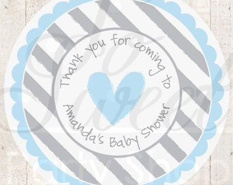 Boy Baby Shower Stickers - Blue and Gray Heart - Baby Shower - Heart and Stripe - Set of 24