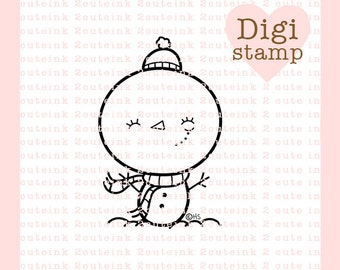 Muñeco de nieve chica sello Digital para la fabricación de la tarjeta, papel de manualidades, Scrapbooking, bordado a mano, invitaciones, pegatinas, colorear