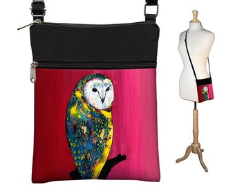 Clara Nilles Small Crossbody Bag, Cross Body Purse, Shoulder Bags for Women, Fabric Handbags, Passport Wallet, Owl red yellow blue RTS