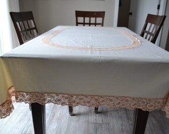Vintage Tablecloth Cream Brulee French Cottage