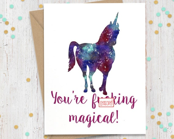 5 x 7 Mature Funny Greeting Card Unicorn Card Gift for Her