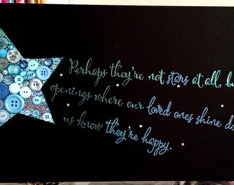 Button Art Shooting Star with Handwritten quote Buttons Stars Calligraphy Art 12x24