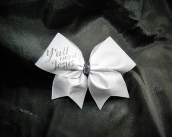 Y'all Need Jesus Cheer Bow Pin