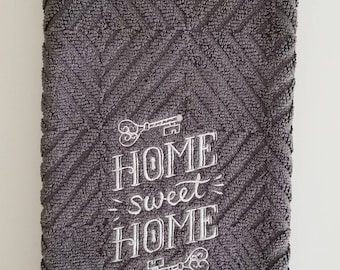Embroidered dish towel, housewarming gift, home sweet home, gray kitchen towel, embroidered kitchen towel, kitchen decor, Mother's Day gift