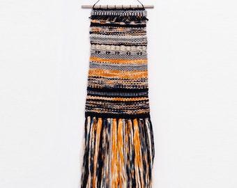 Handmade Tapestry Weaving Wall Hanging/Decor - Orange/Indigo/Black/Grey