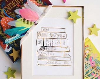 Gold Foil Stack of Books (8x10 or 5x7), Alice in Wonderland, Girls Room Decor, Nursery Art, Gold Foil Wall Art, Book Lover Gift, Book Art
