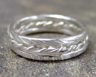 Sterling Silver Stacking Rings - Set of Three - Textured Bands - Wedding Bands - Friendship Rings - Stacking Ring Band Set of 3