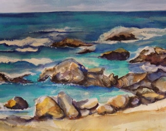 Aruba watercolor painting original, 11 x 15 Aruba beach watercolor, original painting, beach painting, lanscape painting. watercolor art