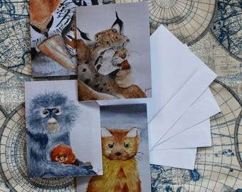 "Assorted Watercolor Notecard Set of 40 - 5.5""x4"""
