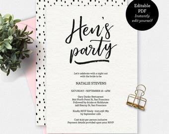 Bachelorette party invitation rose gold invitation hens party invitation black and white invitation instant download printable invitation hens party template invitation template solutioingenieria Choice Image